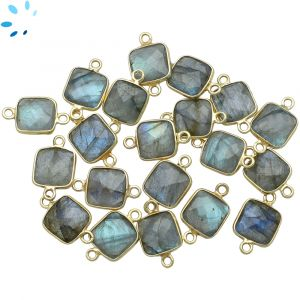 Labradorite Faceted Square Connector 9.5x9.5 mm