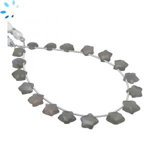 Gray Moonstone Faceted Star Shape 8x8 - 10x10mm Beads