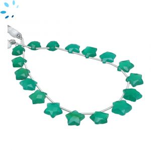 Green Onyx Faceted Star Shape 8x8 - 10x10mm Beads