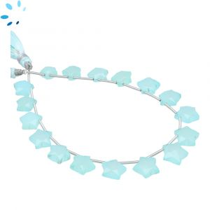 Aqua Chalcedony Faceted Star Shape 8x8 - 10x10mm Beads
