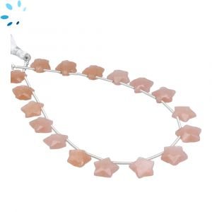 Peach Moonstone Faceted Star Shape 9x9 - 10x10mm Beads