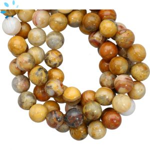 Crazy Lace Agate Smooth Round Beads 10mm