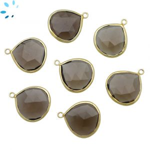 Smoky Quartz Heart Shape Bezel 19 - 19.5 mmm Gold Plated