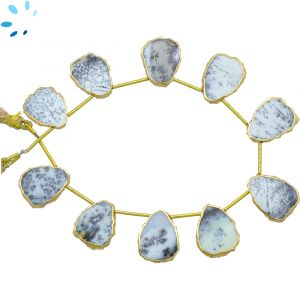 Dendrite Opal Top Drill Slice Gold Electroplated 16x12 - 17x14 mm