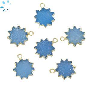 Blue Druzy Sun Shape 13 - 14 mm Gold Electroplated
