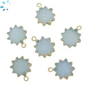Aqua Druzy Sun Shape 14 - 15 mm Electroplated