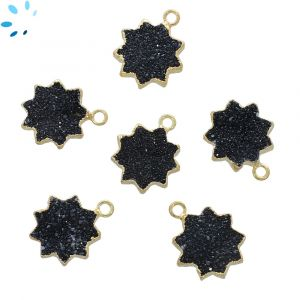 Black Druzy Sun Shape 13 - 14 mm Electroplated