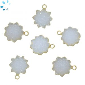 White Druzy Sun Shape 14 - 15 mm Electroplated