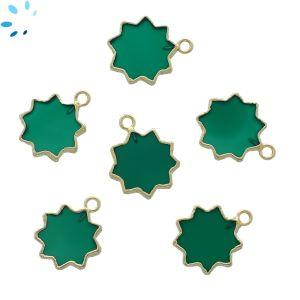 Green Onyx Sun Shape 13 - 14 mm Electroplated
