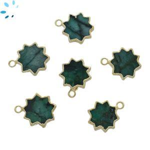 Raw Emerald Sun Shape 13 - 14 mm Electroplated