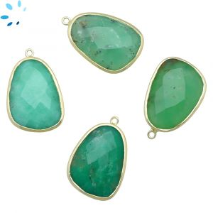 Natural Chrysoprase  Sterling Silver Gold Plated Slice Pendant 25x18 - 26x18 mm
