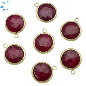 Dyed Ruby Coin Shape Bezel 15 - 16 mm