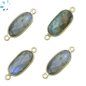 Labradorite Rounded Rectangle 16x8 - 17x8 mm Bezel Connector