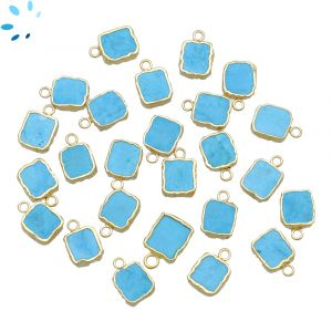 Howlite Turquoise Small Slice Pendant 8x7 - 9x8 mm Electroplated