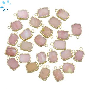 Pink Opal Small Slice Pendant 10x8 - 11x9 mm Electroplated