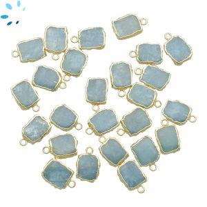 Aquamarine Small Slice Pendant 9x7 - 10x8 mm Electroplated