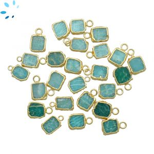 Amazonite Small Slice Pendant 8x7 - 9x8 mm Electroplated