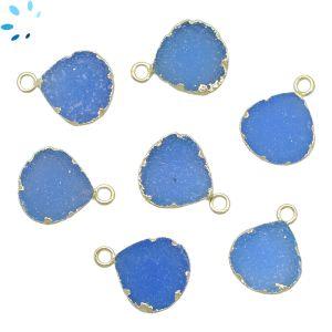 Blue Druzy Heart Shape 11 - 12 mm Electroplated