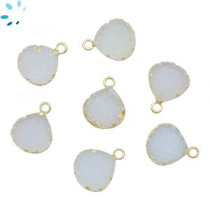 White Druzy Heart Shape 11 - 12 mm Electroplated
