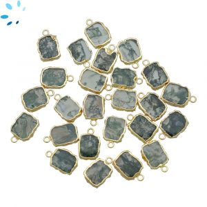 Moos Agate Small Slice Pendant 10x9 - 11x10 mm Electroplated