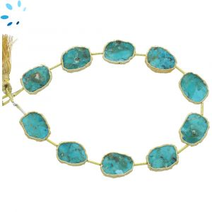 Turquoise Regular Drill Slice Gold Electroplated 15x12 - 16x12 mm