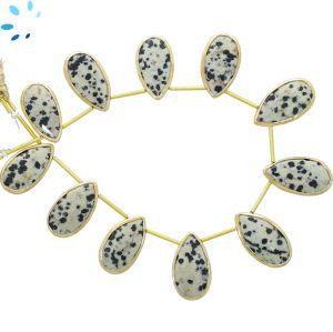 Sterling Silver Gold Plated Bezel Set Dalmatian Jasper Top Drill Pear Shape 19x11 - 21x11 mm
