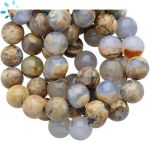 Angel Skin Natural Blue Chalcedony Smooth Round Beads 12 - 13mm