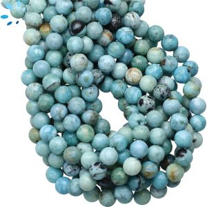 Peruvian Blue Opal Smooth Round Beads 6mm