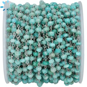 Amazonite Faceted Button 4 - 4.5mm Sterling Silver Chain Sold by Foot