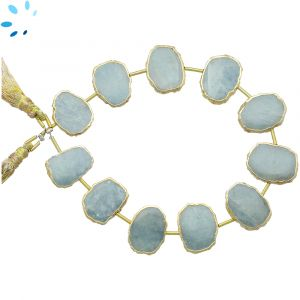 Aquamarine Coin Drill Slice Gold Electroplated 16x12 - 17x13mm