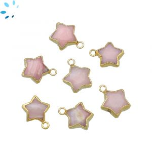 Pink Opal Star Shape 10x10 mm Electroplated