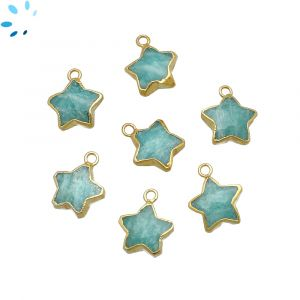 Amazonite Star Shape 10x10 mm Electroplated
