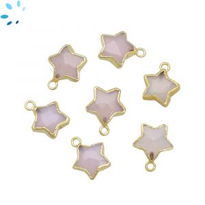 Pink Chalcedony Star Shape 10x10 mm Electroplated