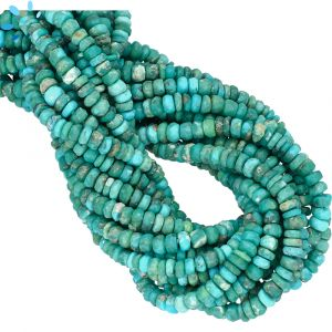 Natural Kingman Mine Turquoise Faceted Rondelle Beads 4 - 4.5mm | 0.8 - 0.9 mm Drill Hole