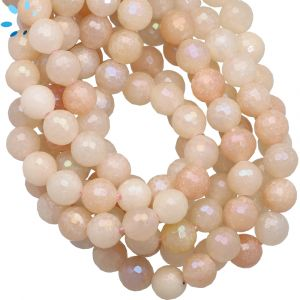 Mystic Coated Pink Aventurine 8.5mm Faceted Round Beads