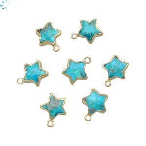 Turquoise Star Shape 10x10 mm Electroplated