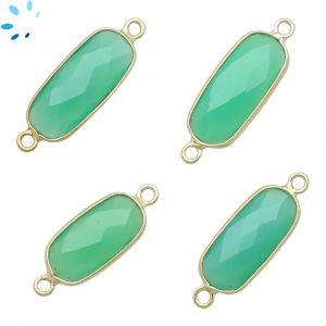 Chrysoprase  Chalcedony Rounded Rectangle 15x8 - 18x8 mm Bezel Connector