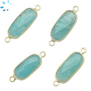Amazonite Rounded Rectangle 15x8 - 18x8 mm Bezel Connector