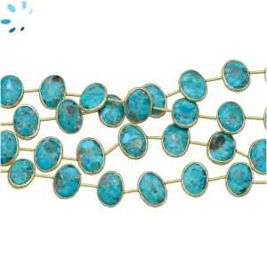 Sterling Silver Gold Plated Bezel Set Turquoise Coin Drill Nuggets 14x10 - 15x11mm