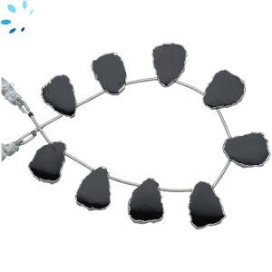 Black Onyx Top Drill Slice 16x13 - 18x13mm-Silver