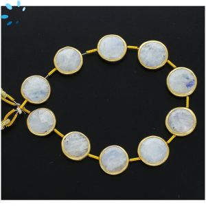 Sterling Silver Gold Plated Bezel Set Rainbow Moonstone Center Drill Coin Shape 13mm