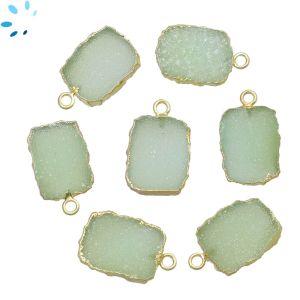 Mint Green Druzy Slice Pendant 15x12 - 16x12 mm