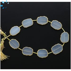 Mystic Coated White Chalcedony Regular Drill Slice Gold Electroplated 15x12 - 16x13mm