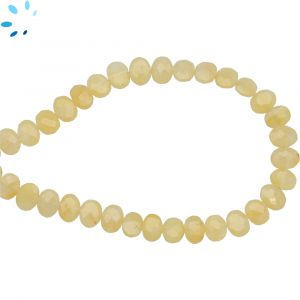 Yellow Aquamarine Faceted Oval Side Drill Beads 7x6 - 8x6 mm