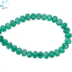 Green Onyx Faceted Oval Side Drill Beads 7x6 - 8x6 mm