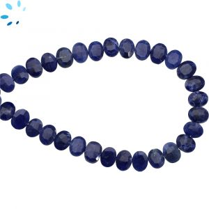 Sodalite Faceted Oval Side Drill Beads 7x6 - 8x6 mm