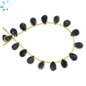 Sterling Silver Gold Plated Bezel Set Black Druzy Top Drill Pear Shape 12x9 mm