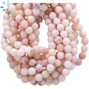 Pink Opal Faceted Round Beads 6mm