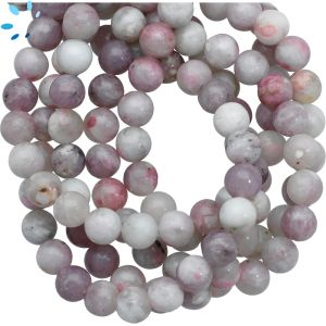 Pink Gray  Lepidolite Smooth Round Beads 8mm