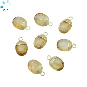 Citrine Oval shape 10x8 mm Electroplated